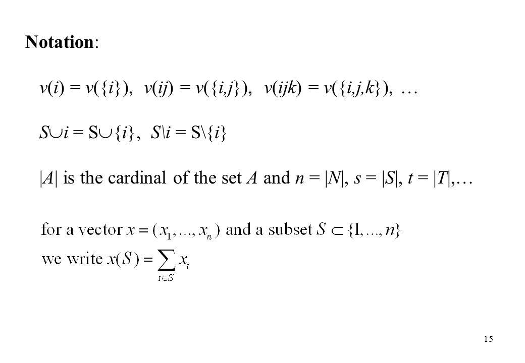 Notation: v(i) = v({i}), v(ij) = v({i,j}), v(ijk) = v({i,j,k}), … Si = S{i}, S\i = S\{i}