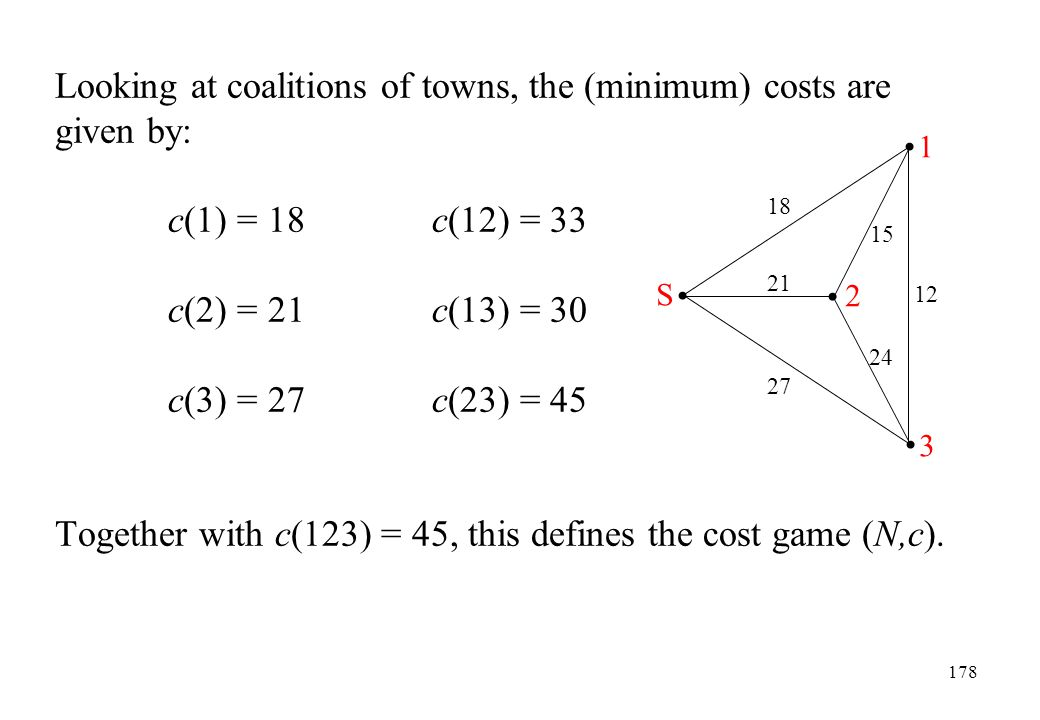 Looking at coalitions of towns, the (minimum) costs are given by:
