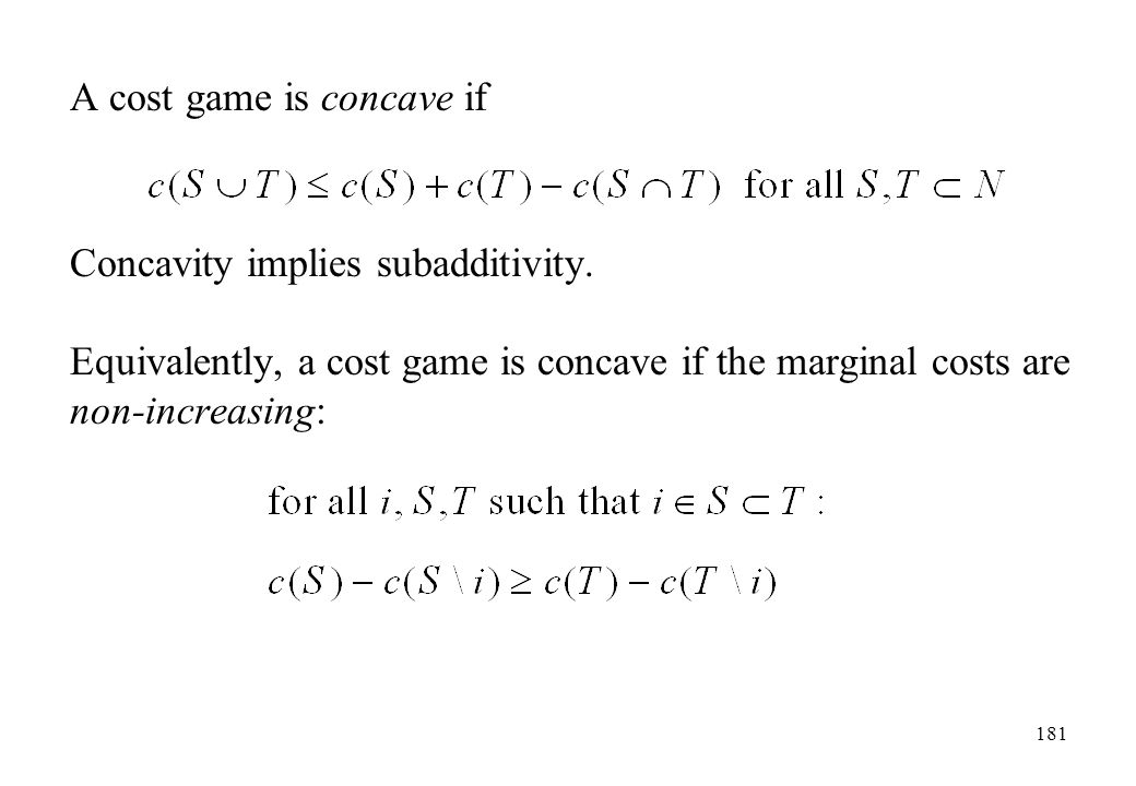 A cost game is concave if
