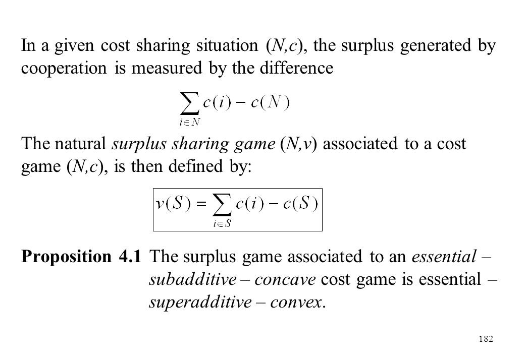 In a given cost sharing situation (N,c), the surplus generated by cooperation is measured by the difference