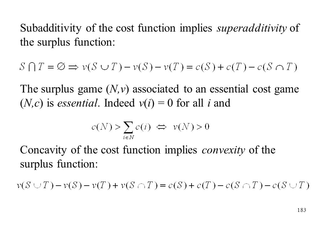 Subadditivity of the cost function implies superadditivity of the surplus function: