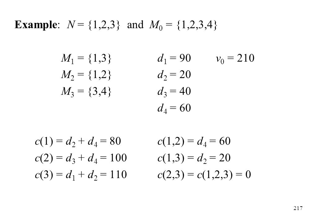 Example: N = {1,2,3} and M0 = {1,2,3,4} M1 = {1,3} d1 = 90 v0 = 210. M2 = {1,2} d2 = 20. M3 = {3,4} d3 = 40.