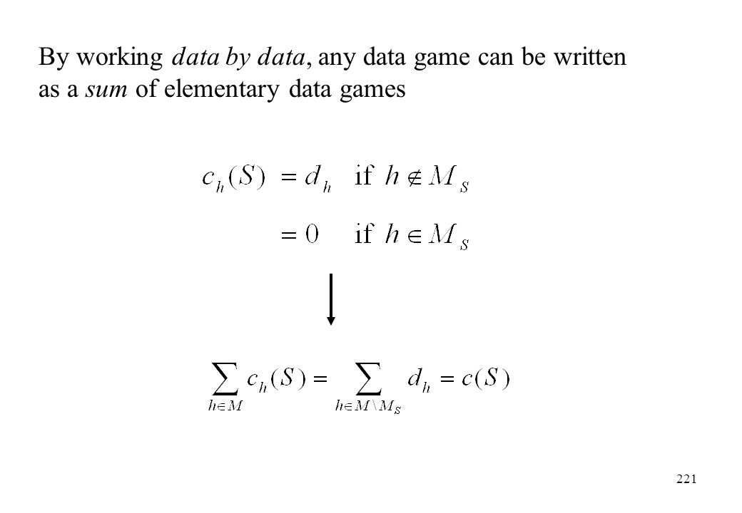 By working data by data, any data game can be written as a sum of elementary data games