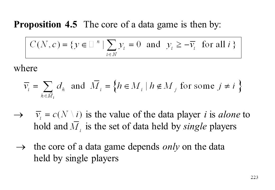 Proposition 4.5 The core of a data game is then by: