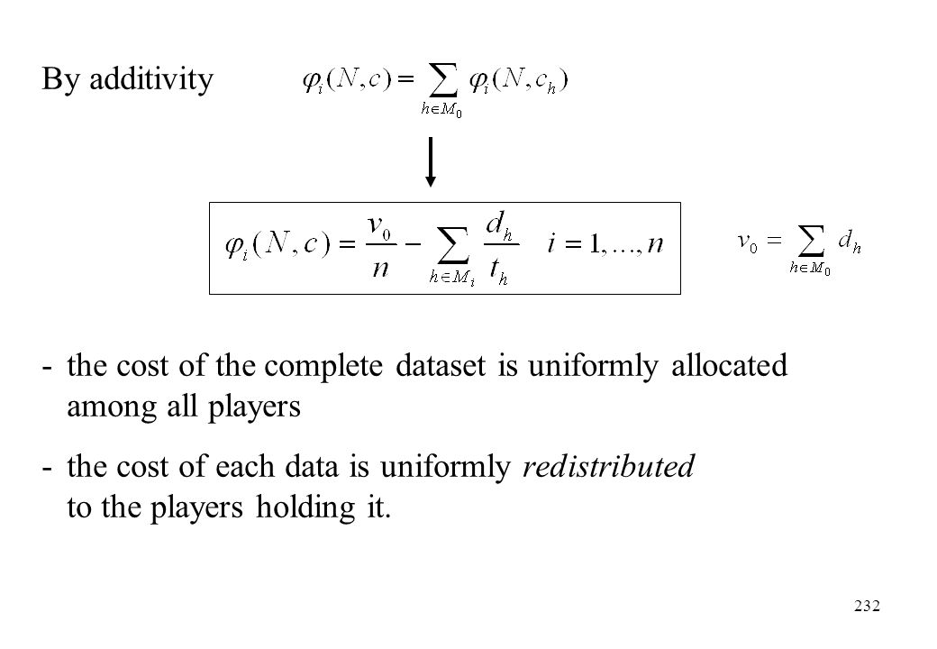 By additivity - the cost of the complete dataset is uniformly allocated among all players.