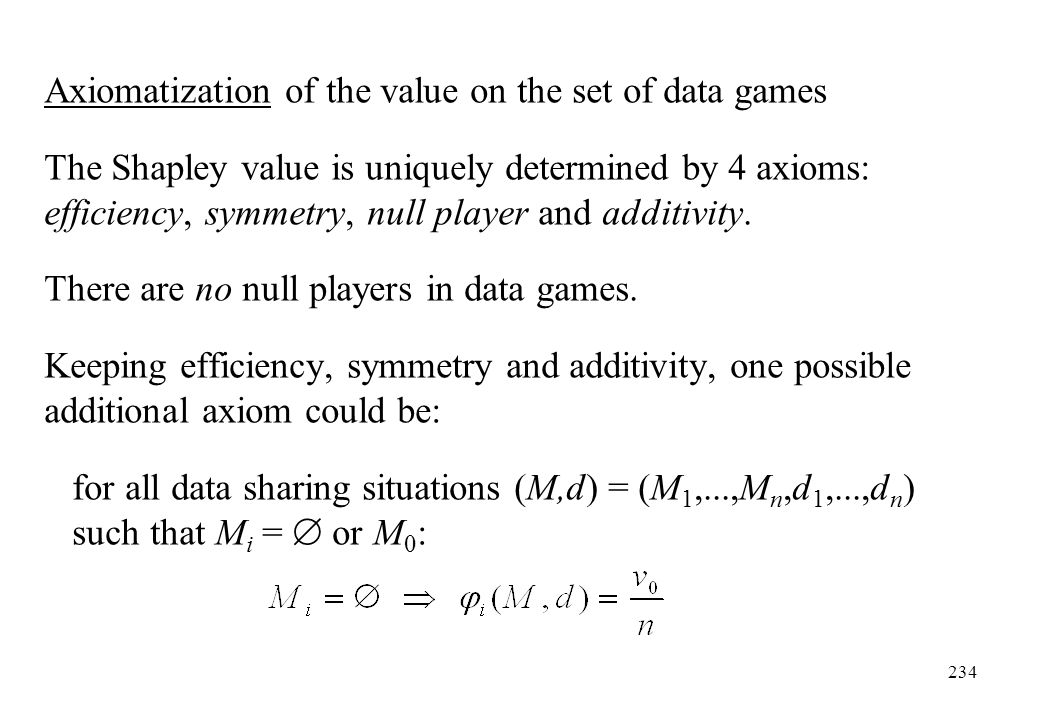 Axiomatization of the value on the set of data games