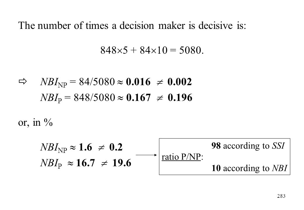 The number of times a decision maker is decisive is: