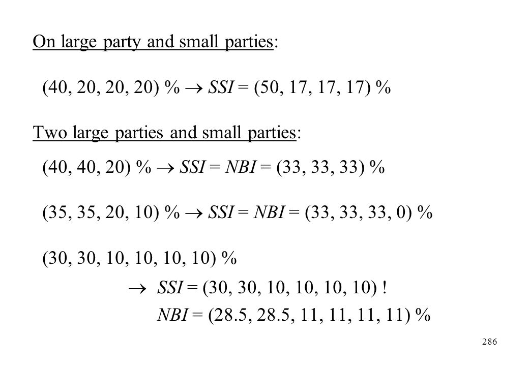 On large party and small parties: