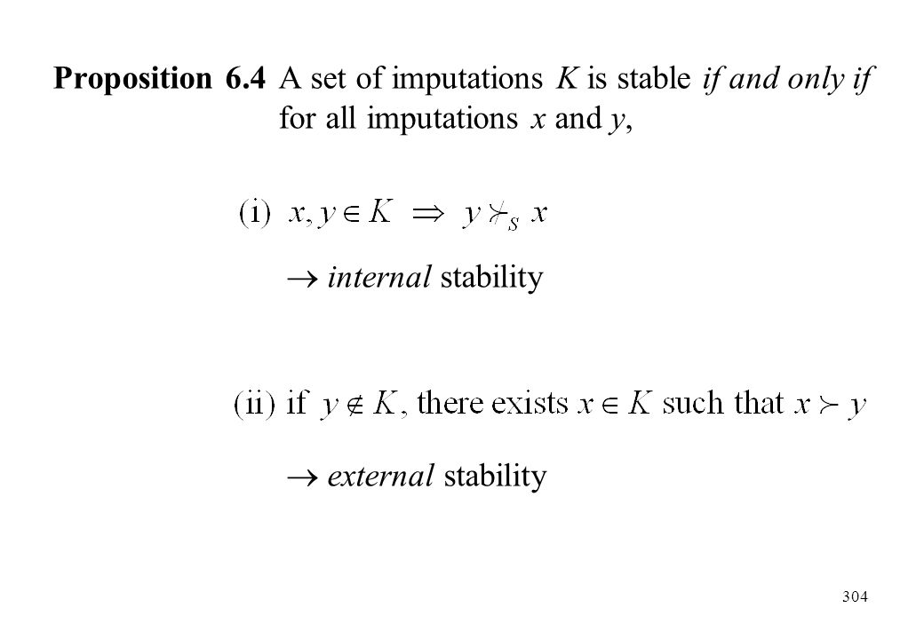 Proposition 6. 4. A set of imputations K is stable if and only if