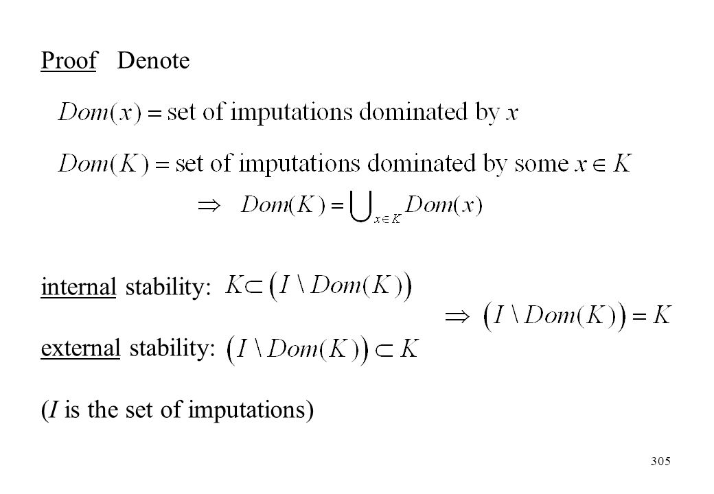 Proof Denote internal stability: external stability: (I is the set of imputations)