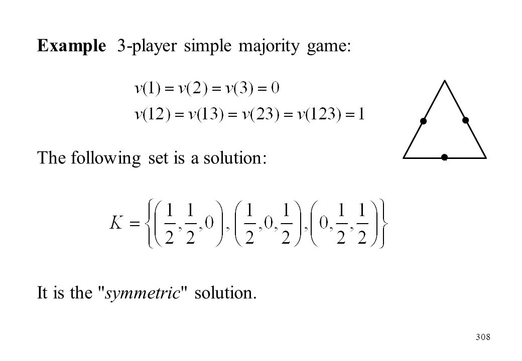 Example 3-player simple majority game: