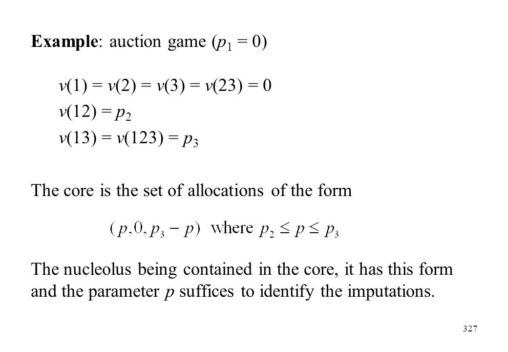 Example: auction game (p1 = 0)