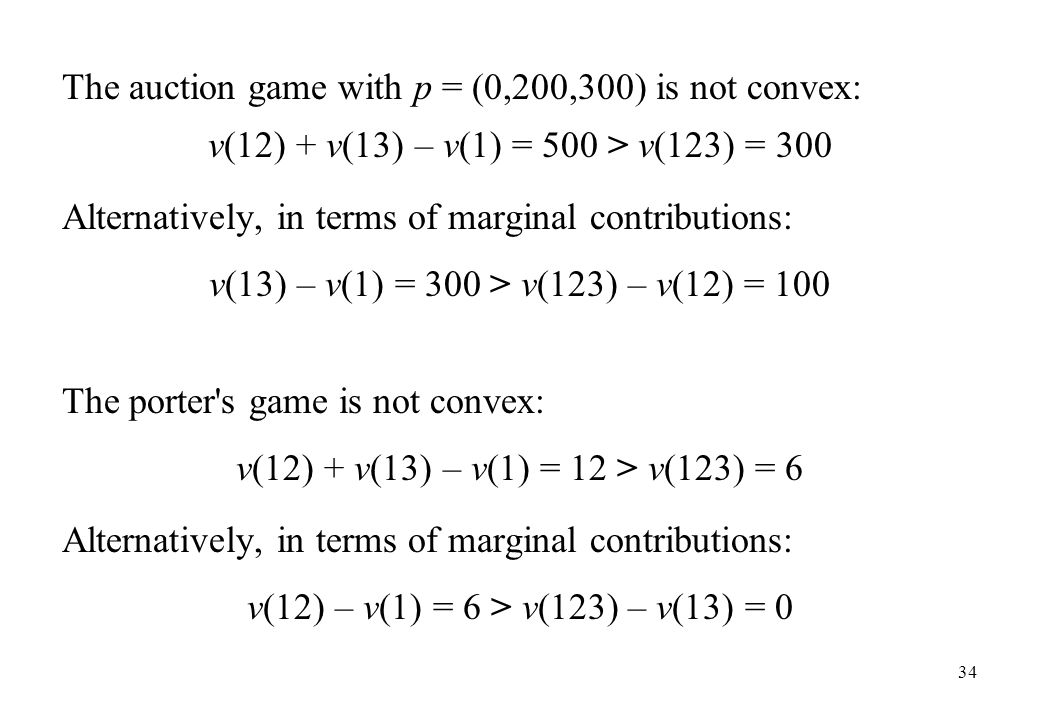 The auction game with p = (0,200,300) is not convex: