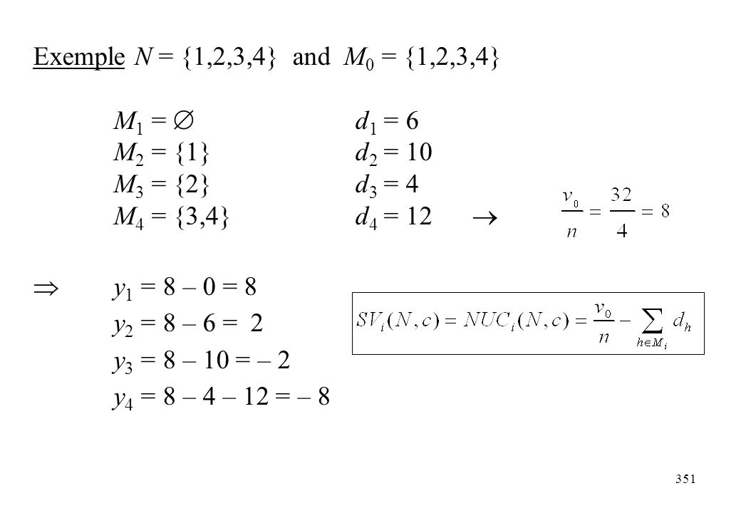 Exemple N = {1,2,3,4} and M0 = {1,2,3,4} M1 =  d1 = 6. M2 = {1} d2 = 10. M3 = {2} d3 = 4. M4 = {3,4} d4 = 12 
