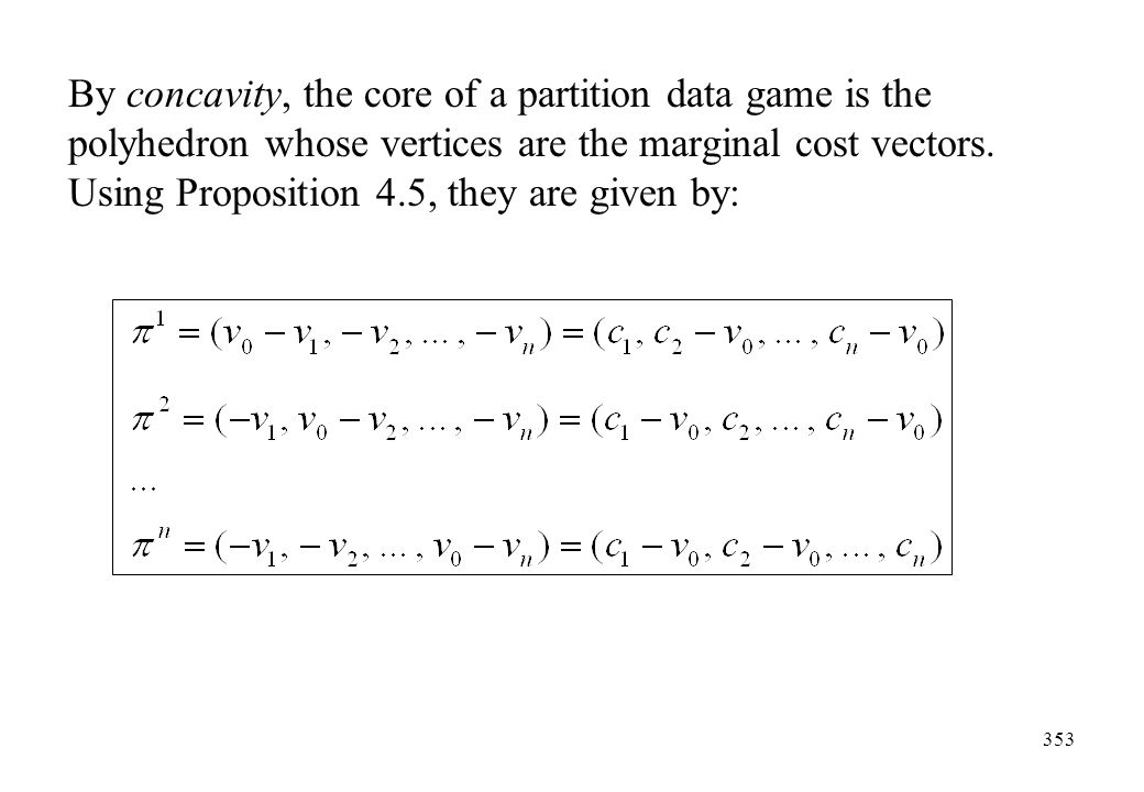 By concavity, the core of a partition data game is the polyhedron whose vertices are the marginal cost vectors.