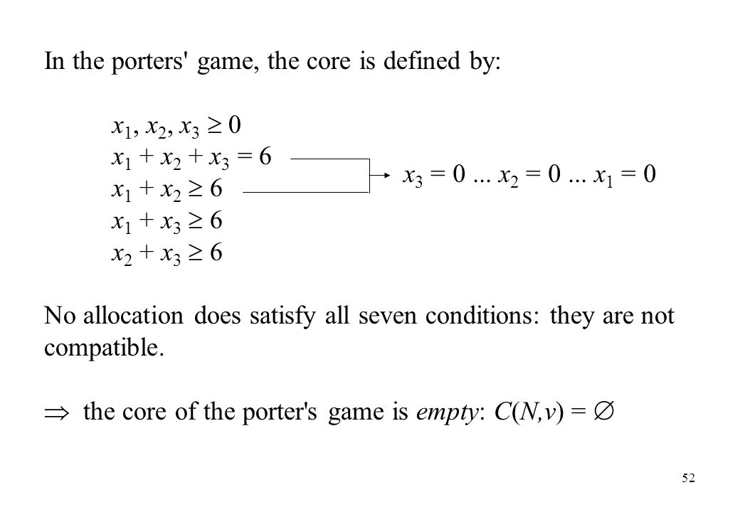 In the porters game, the core is defined by: