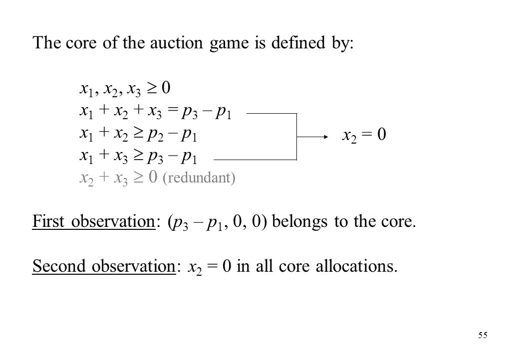 The core of the auction game is defined by: