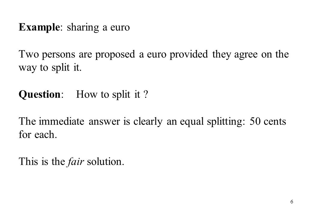 Example: sharing a euro