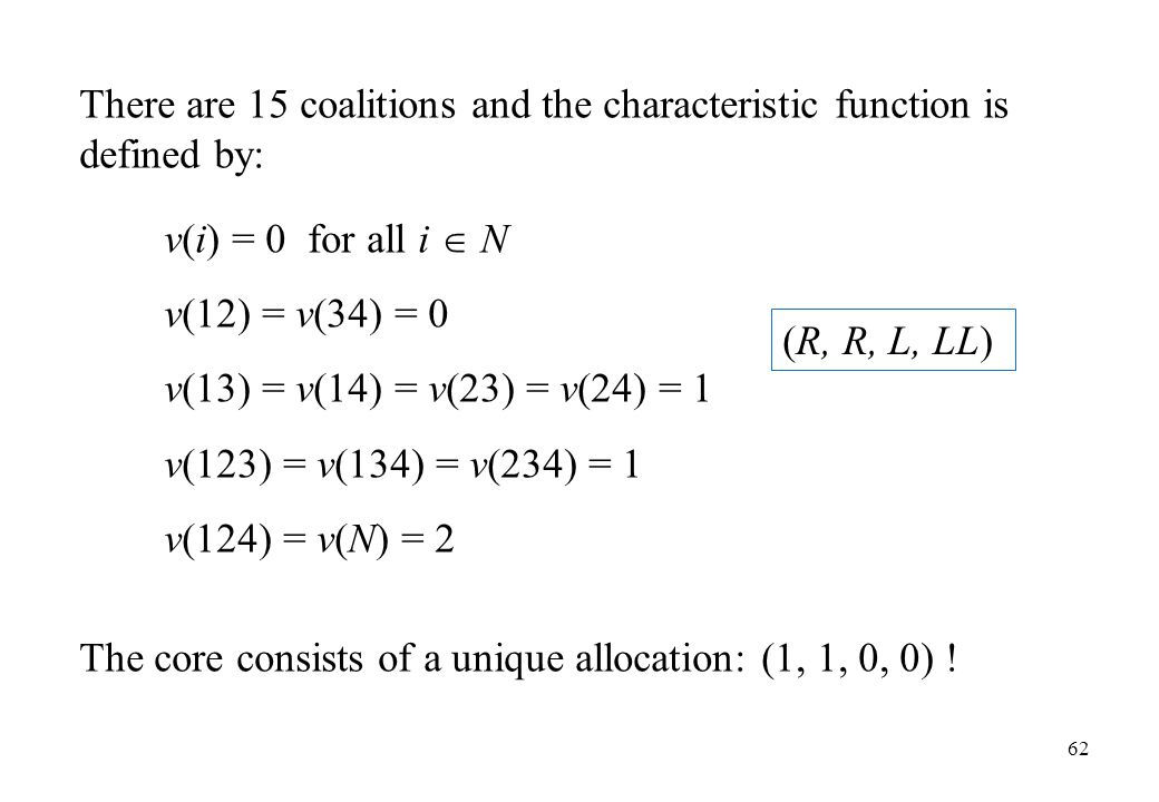 There are 15 coalitions and the characteristic function is defined by: