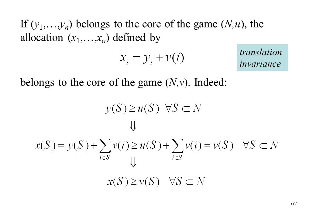 belongs to the core of the game (N,v). Indeed: