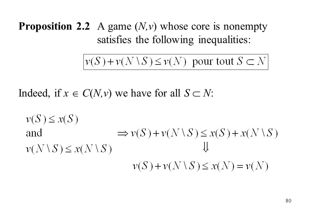 Proposition 2. 2. A game (N,v) whose core is nonempty