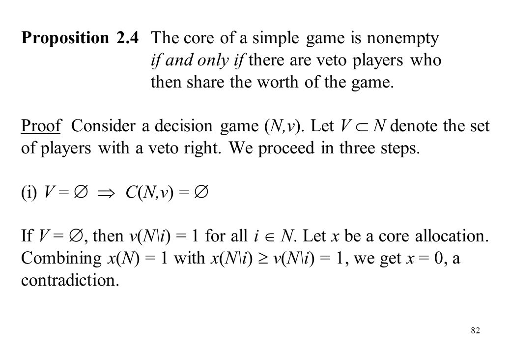 Proposition 2. 4. The core of a simple game is nonempty