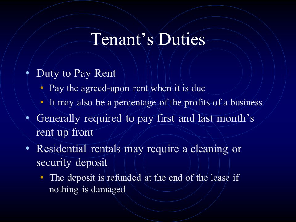 Tenant's Duties Duty to Pay Rent