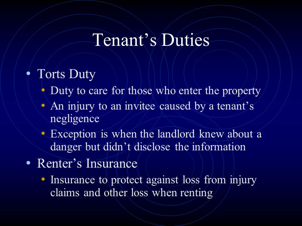 Tenant's Duties Torts Duty Renter's Insurance