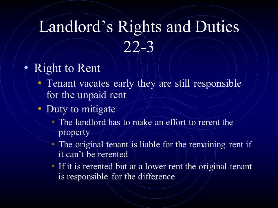 Landlord's Rights and Duties 22-3