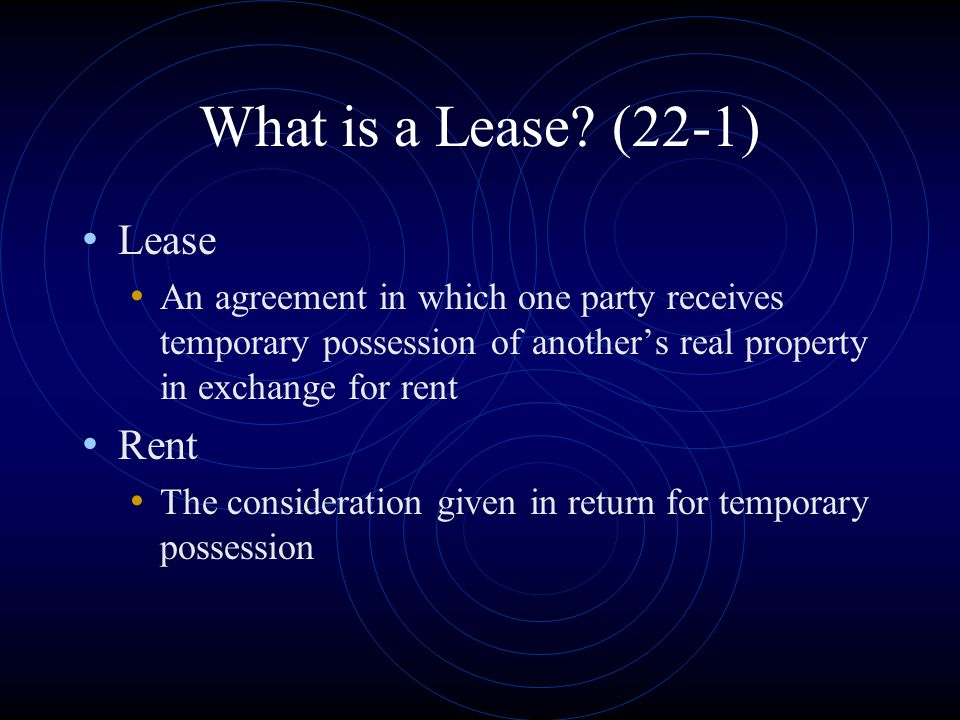 What is a Lease (22-1) Lease Rent