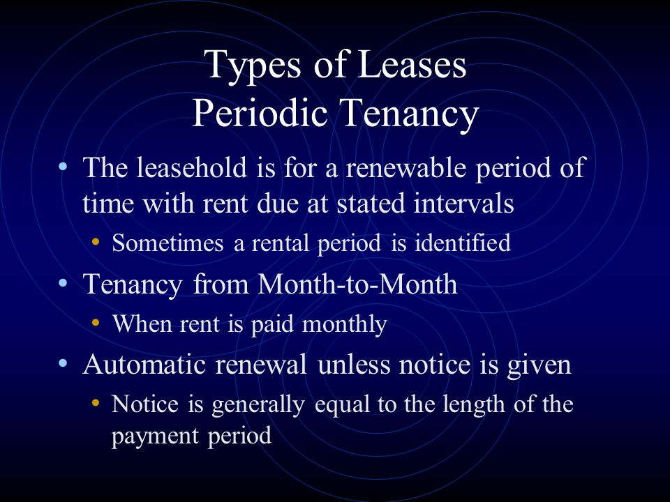 Types of Leases Periodic Tenancy