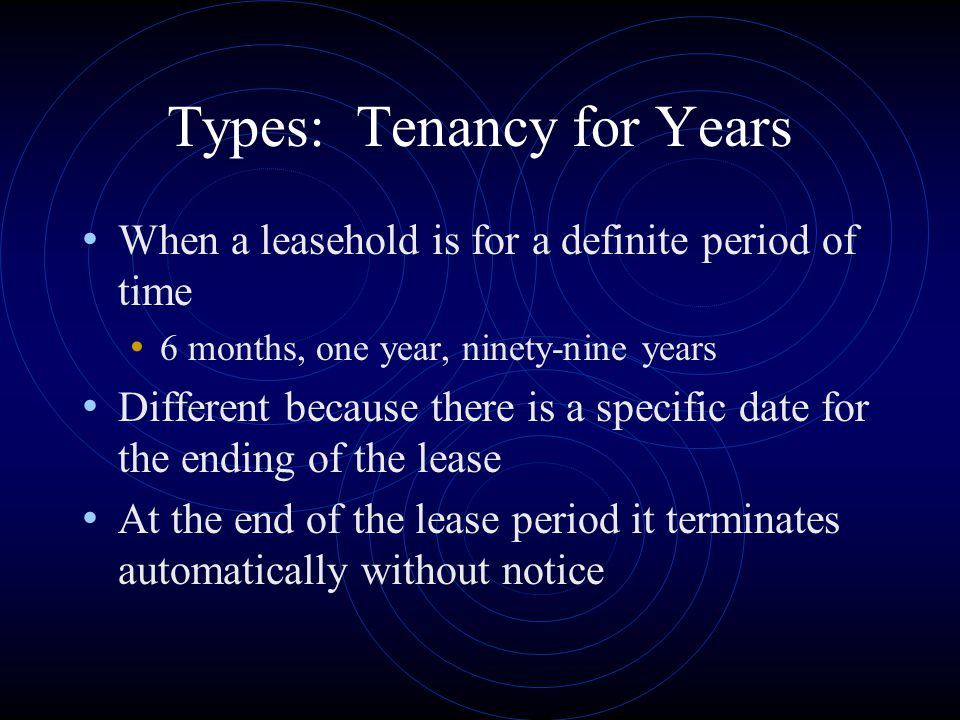 Types: Tenancy for Years