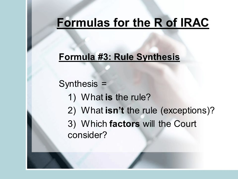 Formulas for the R of IRAC