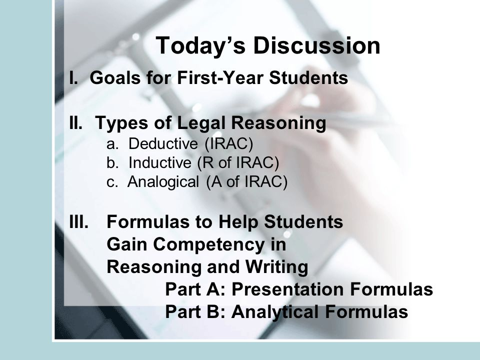 Today's Discussion I. Goals for First-Year Students