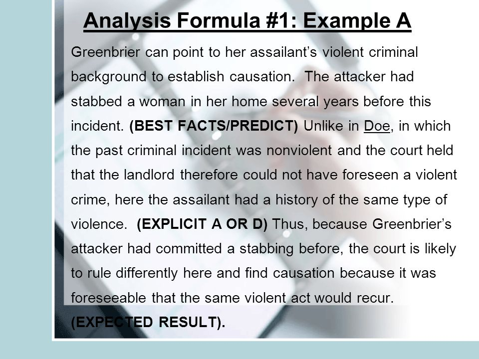 Analysis Formula #1: Example A