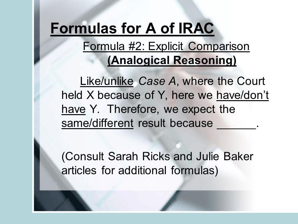 Formula #2: Explicit Comparison (Analogical Reasoning)