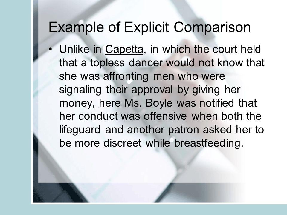 Example of Explicit Comparison