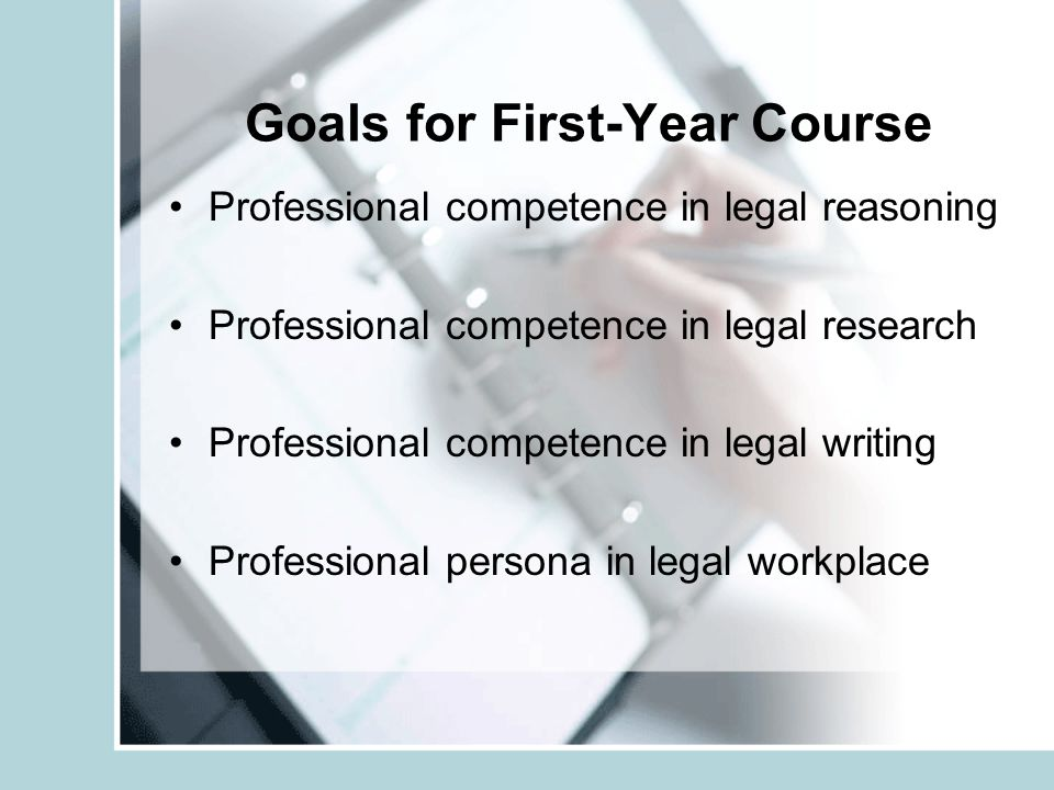 Goals for First-Year Course