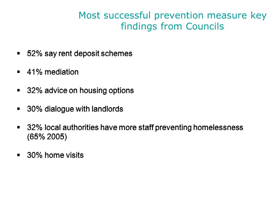 Most successful prevention measure key findings from Councils