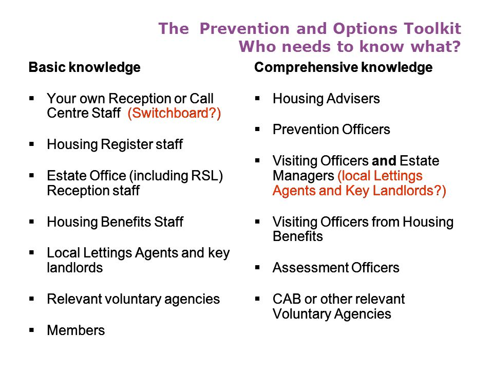 The Prevention and Options Toolkit Who needs to know what