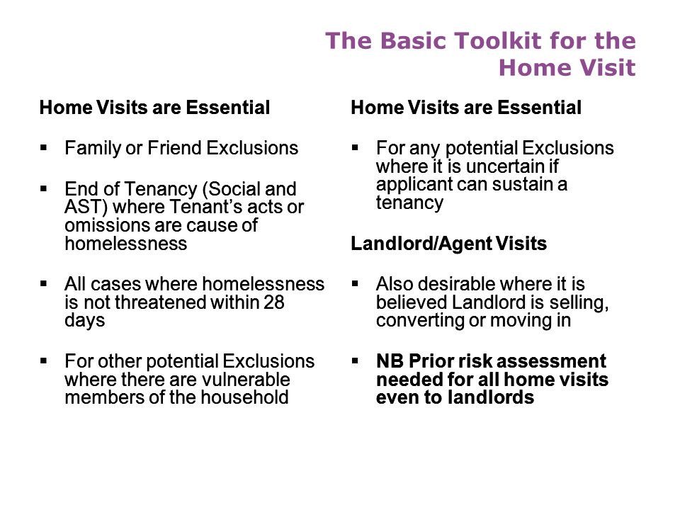 The Basic Toolkit for the Home Visit