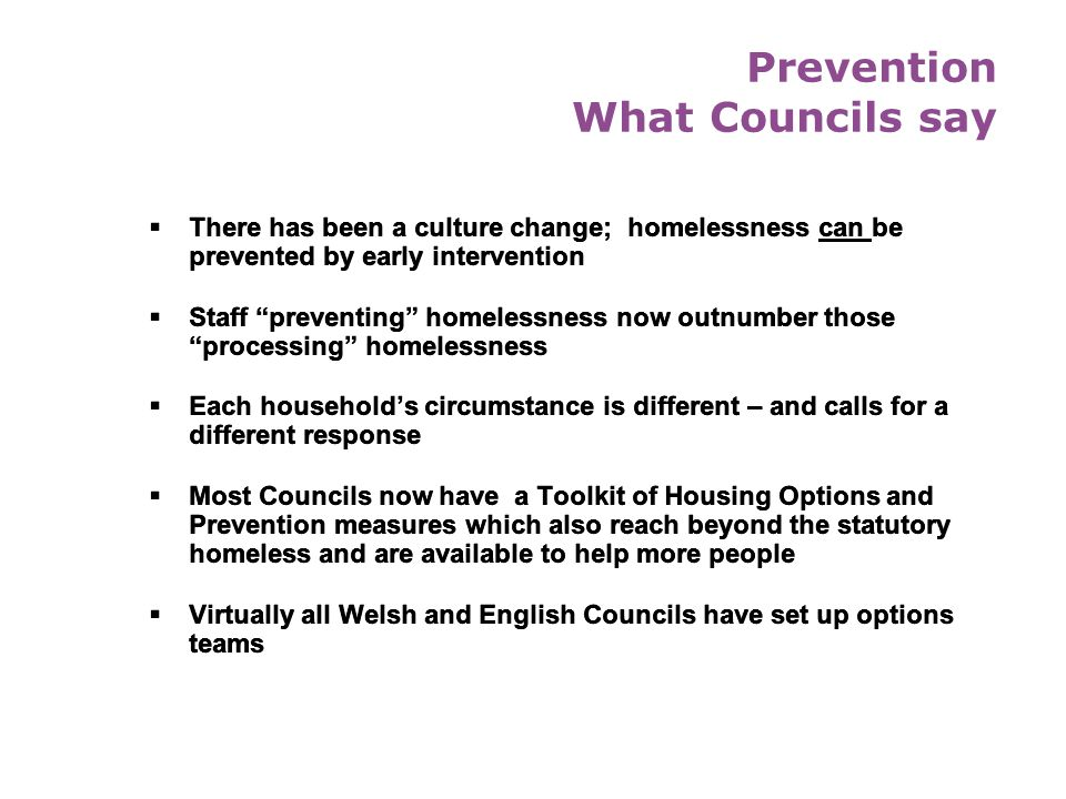 Prevention What Councils say