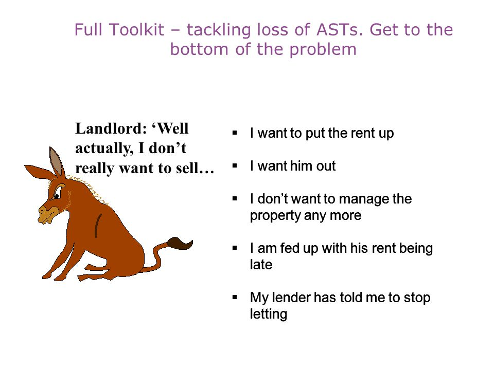 Full Toolkit – tackling loss of ASTs. Get to the bottom of the problem
