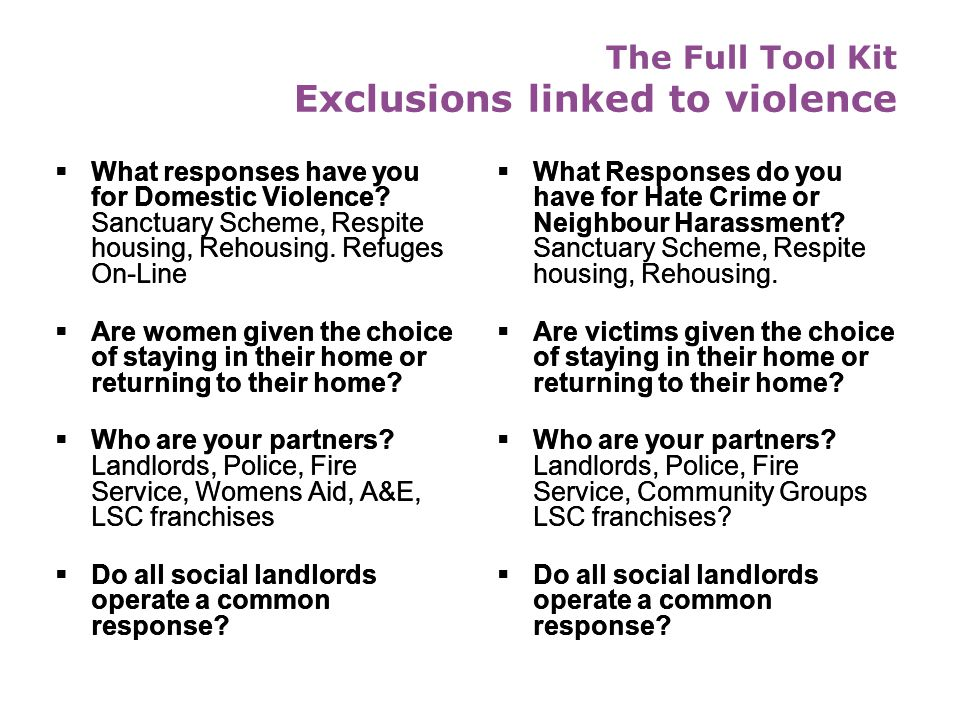 The Full Tool Kit Exclusions linked to violence