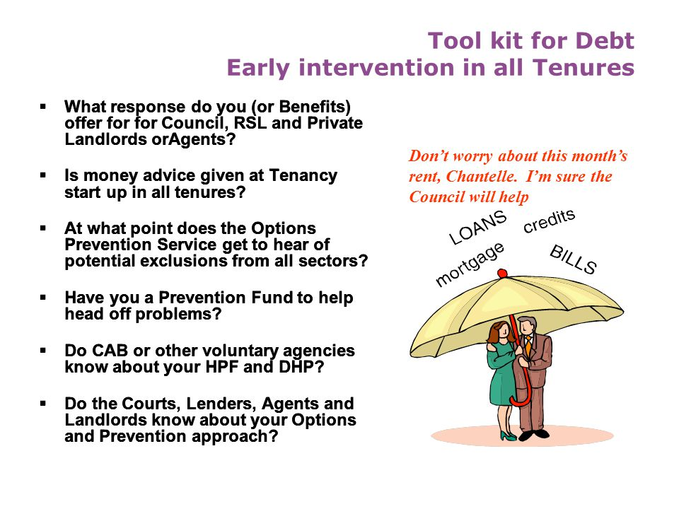 Tool kit for Debt Early intervention in all Tenures