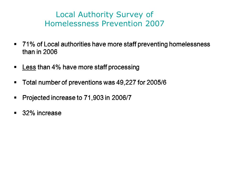 Local Authority Survey of Homelessness Prevention 2007