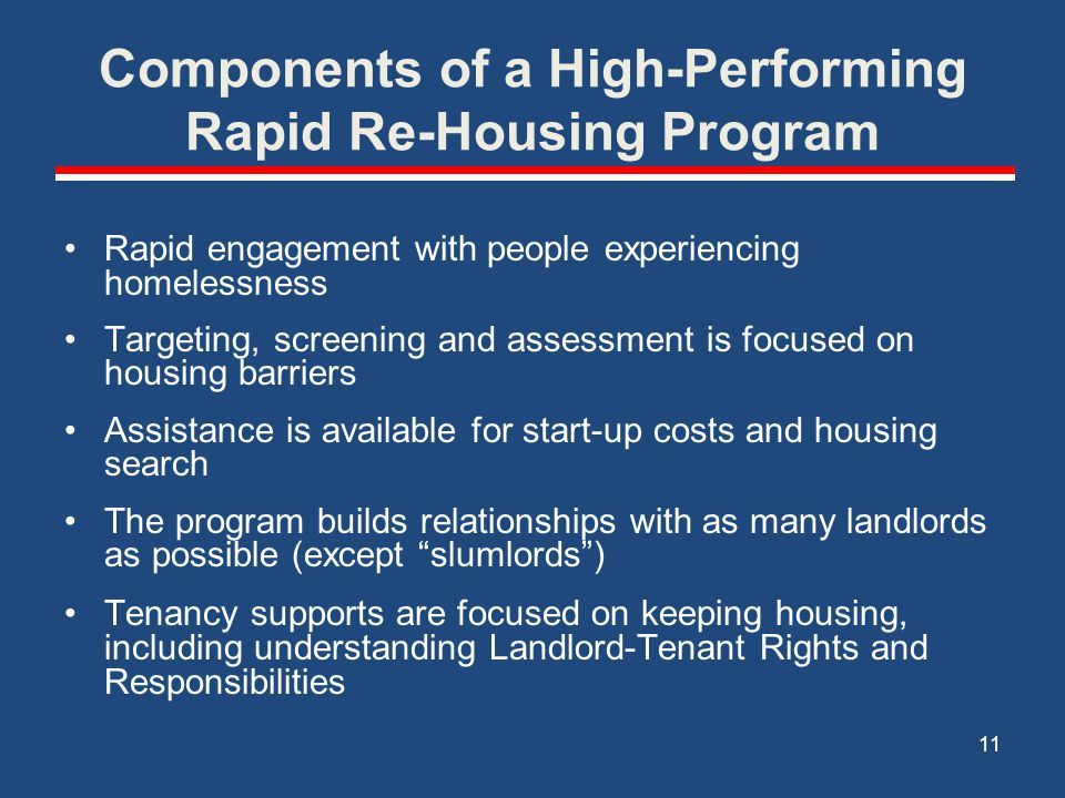 Components of a High-Performing Rapid Re-Housing Program