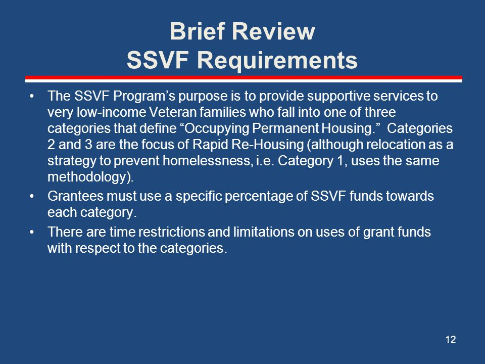 Brief Review SSVF Requirements
