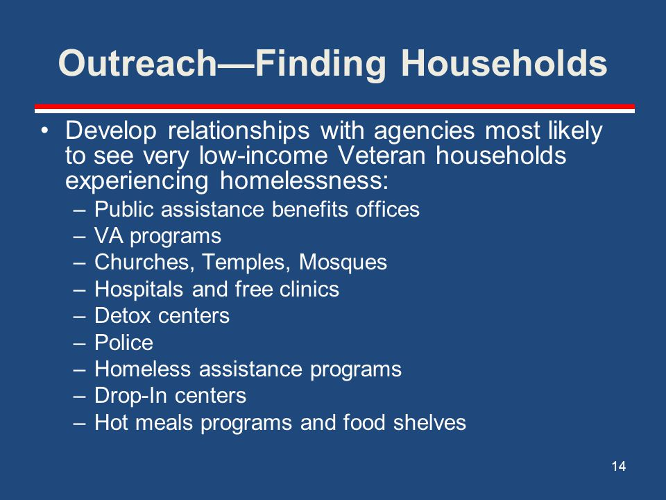 Outreach—Finding Households