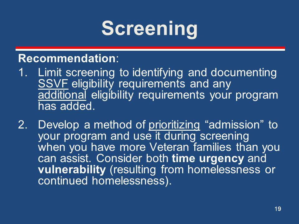 Screening Recommendation: